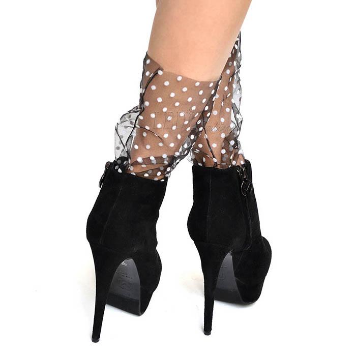 Носочки черные в белый горошек