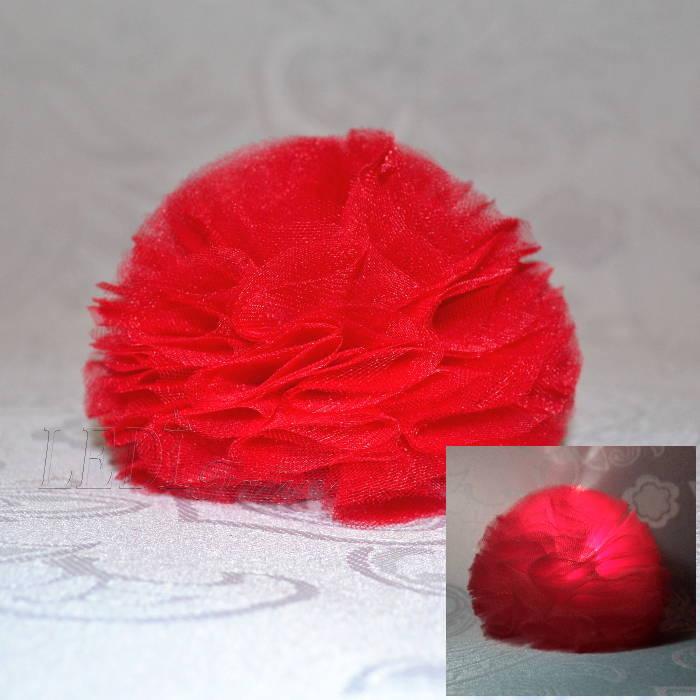 """Заколка для волос """"Цветок красный шарик"""""""