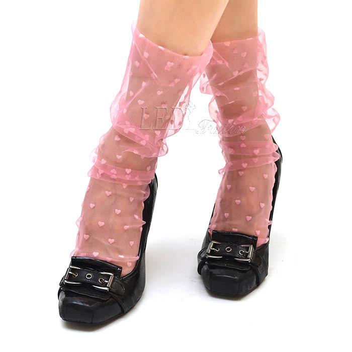 Носочки розовые с бархатными сердечками