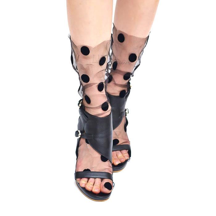 Носочки черные в крупный черный горошек