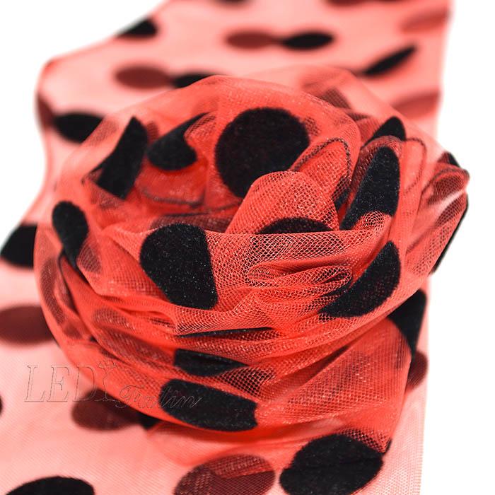 Носочки красные в крупный чёрный горох