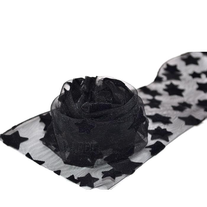 Носки чёрные с бархатными крупными звёздами