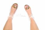 Носочки белые со снежинками серебро