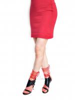 Носочки красные в чёрный мелкий горошек